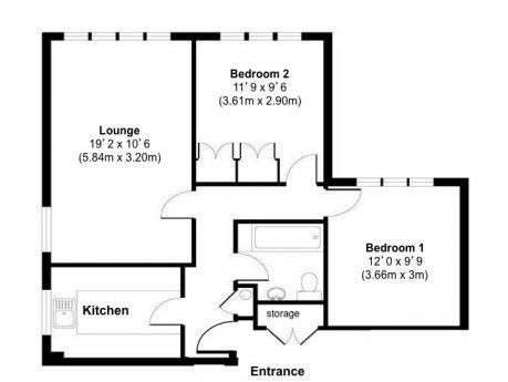 閑静、安全な高級住宅街の2xダブルベッドルームフラット(駅極近)賃貸